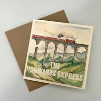 Illustrated Hogwarts Express Harry Potter Birthday Greetings Card Recycled