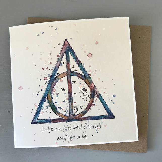 Harry Potter Birthday Card.Illustrated Deathly Hallows Harry Potter Birthday Greetings Card Uk Recycled