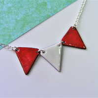 Bright Bunting Necklace - fun brightly coloured Summer fete enamelled jewellery