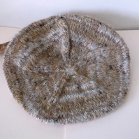 Woman's hand knitted mohair beret