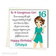 Personalised Birthday Card. Teen Girl Birthday Card. Girl Birthday Card.