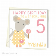 Personalised Girl Birthday Card. Birthday Card For Daughter Granddaughter Sister