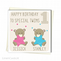 Personalised Twins Birthday Card.