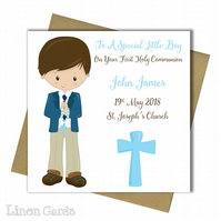Personalised Boy First Holy Communion Card.