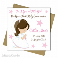 Personalised Girl First Holy Communion Card.