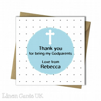 Personalised Godparents Godmother Godfather Thank You Card.