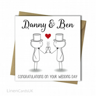Personalised Mr and Mr Card Same Sex Gay Civil Wedding Card.