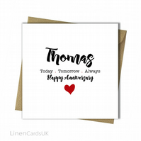 Personalised Anniversary Card Husband Wife Anniversary Card