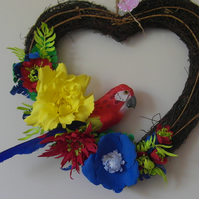 Unique Tropical wicker heart hanging decoration