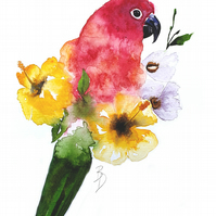 Original Watercolour Painting, Parrot, Tropical, Flowers, Art