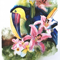 Original Watercolour Painting, Tucan, Tropical, Art