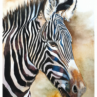 Original Watercolour Painting, Zebra, Art