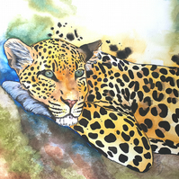 Original Watercolour Painting, Leopard, Art
