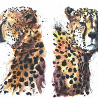 Original Watercolour Painting, Cheetah, Art