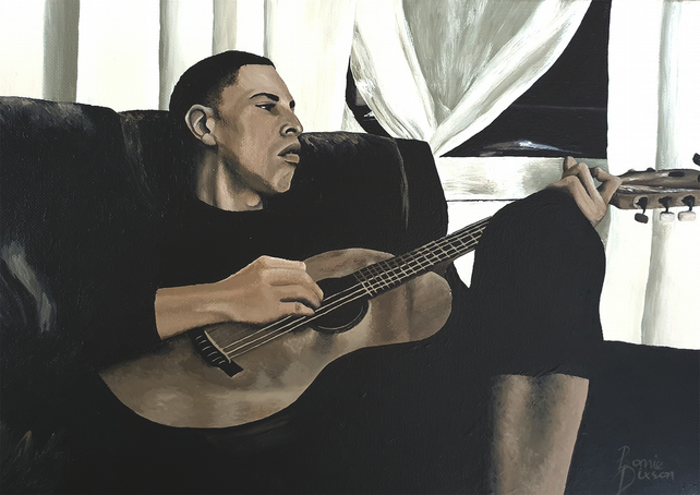 Original Acrylic Painting, Portrait, People, Music, Guitar, Realism