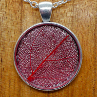 "Red leaf circle set in resin in a 25 mm silver cabochon on an 18"" necklace"