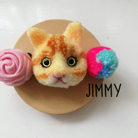 American Shorthair Cat Kitten Pom Pom Brooch Keyring Decor