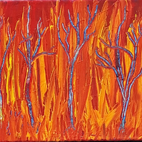 Acrylic abstract on box canvas 8 x 10 x 1.5 inches - 'Flaming Forest'