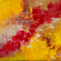 Acrylilc abstract painting, 'The Red Poppy Trail' - 16 x 20 inches