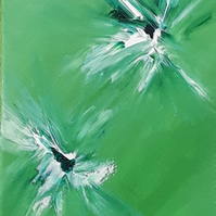 Acrylic Original painting burst of colour Green - Folksy