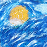 Acrylic abstract sea sun Original painting - The Eye in the Waves - Folksy