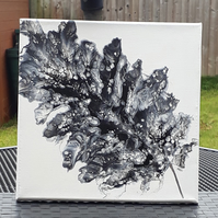 Acrylic pour painting, Feather Leaf  - Black & White - Folksy