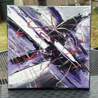 Acrylic abstract original painting, Purple X - Folksy