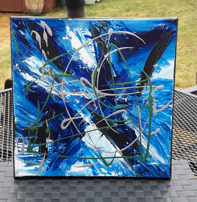 Abstract acrylic original painting, blue X - Folksy