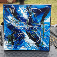 Clearance Sale, Abstract acrylic original painting, blue X - Folksy