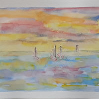 Abstract watercolour painting, sailing, sea, sky painting - Folksy