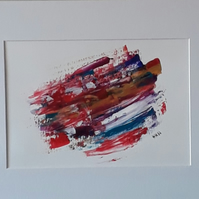 Abstract acrylic original painting, 'In a Blur' with mount ready for framing