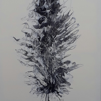 Original acrylic pour painting  black and white feather folksy.com