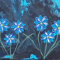 Original Acrylic pour and painting, space flowers blue black - folksy.com