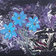 Original acrylic pour space flowers purple and blue, folksy.com