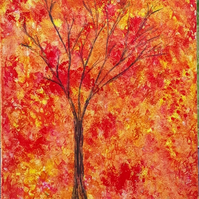 Autumn Tree, original acrylic painting on canvas, clearance sale - Folksy.com