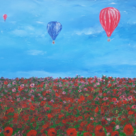 Original acrylic painting, 'Over the Poppy Field'  hot air balloons, Folksy.com