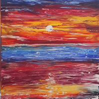 Original abstract oil painting - Sunset over sea - portrait orientation - Folksy