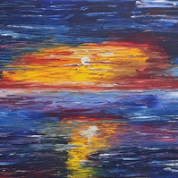 Original oil painting, sunset over the sea, landscape orientation - Folksy.com