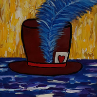 Lucky Hat, original acrylic painting on canvas - Folksy.com