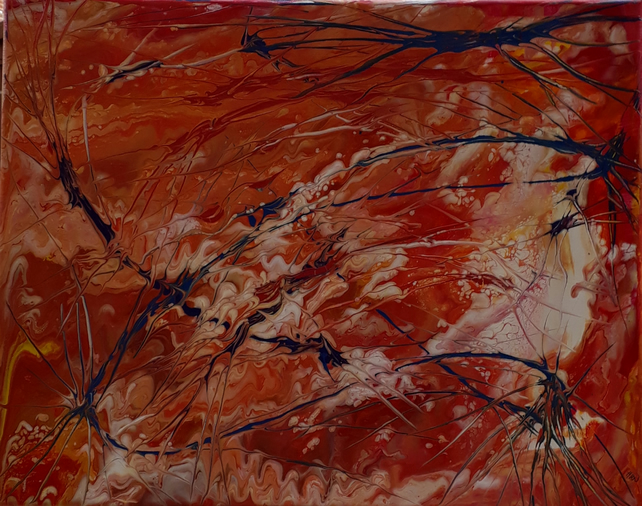 Original acrylic pour painting, Battle Star Red Planet - Folksy.com