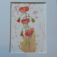 Original painting, a splash of poppies, on watercolour paper - Folksy