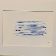 Calm Sea, still water, Original acrylic painting in white mount - Folksy.com