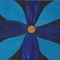 Blue flower in the dark, original acrylic abstract painting on chunky canvas