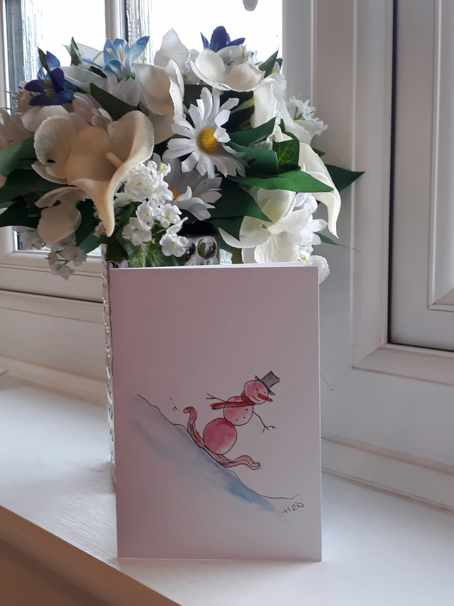 Snowman on a sledge, A6 Christmas card with envelope - Folksy.com