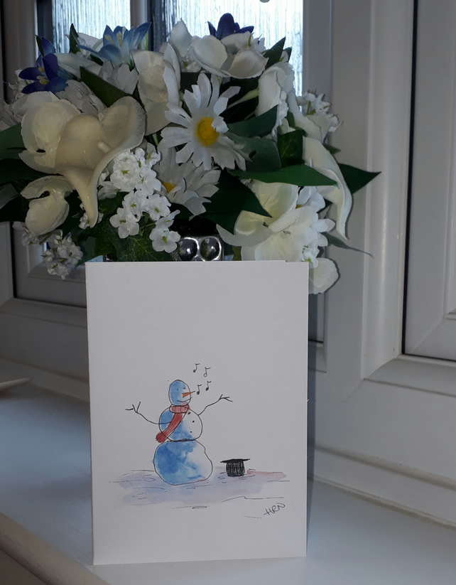 Singing Snowman, A6 Christmas Card with white envelope - Folksy.com