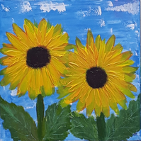 Sunflowers acrylic painting on chunky canvas for baby or child's room - Folksy