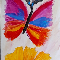 Butterfly over a sunflower original abstract acrylic painting