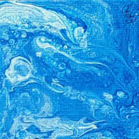 Mini original acrylic pour painting on 3x3 inch canvas, oxygen underwater