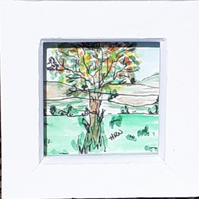 Birds in a tree, Original pen and watercolour doodle painting in small box frame