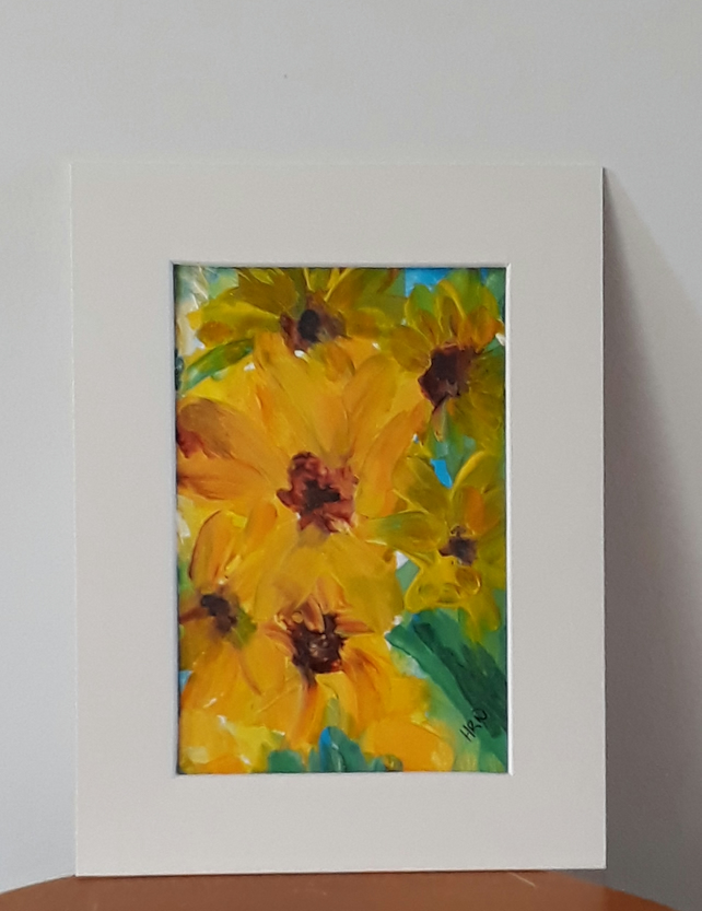 A crowd of sunflowers, Original acrylic painting with mount ready for framing